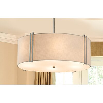Textile 6 Light Drum Pendant Finish: Matte Black, Shade Color: White