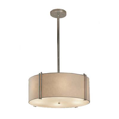 Textile Reveal 3-Light Drum Pendant Shade Color: Cream, Finish: Dark Bronze