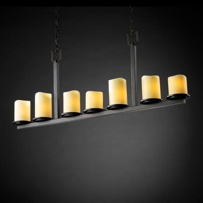 Wantage 7-Light Drum Pendant Metal Finish: Dark Bronze, Shade Color: Cream
