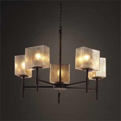 Luzerne 5-Light Shaded Chandelier Finish: Polished Chrome, Shade Color: Ribbon