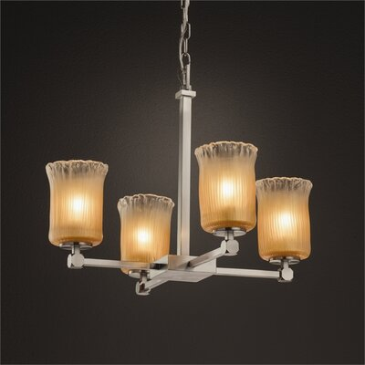 Kelli 4-Light Shaded Chandelier Finish: Brushed Nickel, Shade Color: Gold w/ Clear Rim