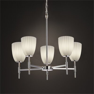 Luzerne 5-Light Shaded Chandelier Finish: Brushed Nickel, Shade Color: Opal