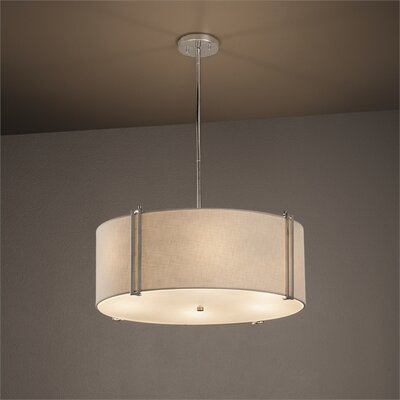 Textile 6-Light Drum Pendant Finish: Polished Chrome, Shade Color: White