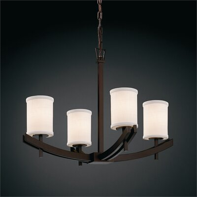 Red Hook 4-Light Shaded Chandelier Finish: Matte Black, Shade Color: Cream