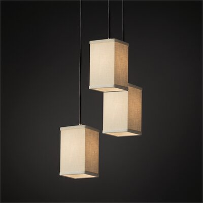 Textile 3 Light Square w/ Flat Rim Cascade Pendant Shade Color: Cream, Finish: Dark Bronze