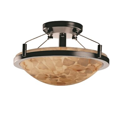 Keana Rocks Round Semi Flush Mount Finish: Nickel
