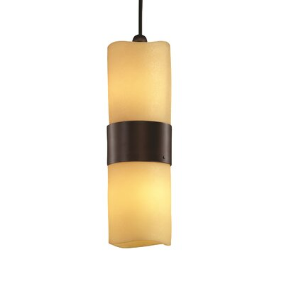 Wantage 2-Light Pendant Shade Option: Cylinder with Melted Rim, Shade Color: Amber, Metal Finish: Dark Bronze