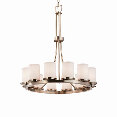 Textile 12 Light Cylinder w/ Flat Rim Candle Chandelier Finish: Dark Bronze, Shade Color: White