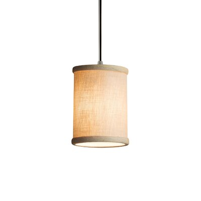 Textile 1 Light Cylinder w/ Flat Rim Mini Pendant Finish: Antique Brass, Shade Color: Cream