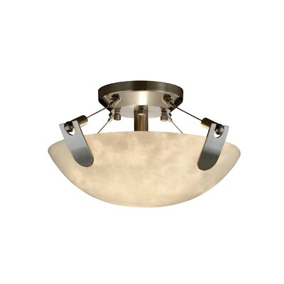 U-Clips Clouds 2 Light Semi Flush Mount Shade Shape: Round Bowl, Finish: Nickel