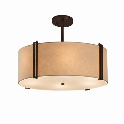 Textile 3 Light Drum Pendant Finish: Polished Chrome, Shade Color: Cream