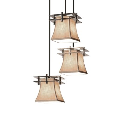 Red Hook 3 Light Square Flared Cascade Pendant Finish: Polished Chrome, Shade Color: Cream