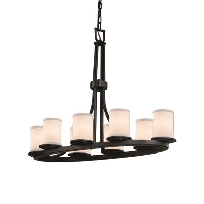 Textile 8 Light Cylinder w/ Flat Rim Candle Chandelier Finish: Dark Bronze, Shade Color: White, Bulb Type: 60W E26 medium base bulb (not included)