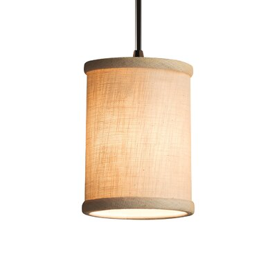 Textile 1 Light Cylinder w/ Flat Rim Mini Pendant Shade Color: Cream, Finish: Dark Bronze