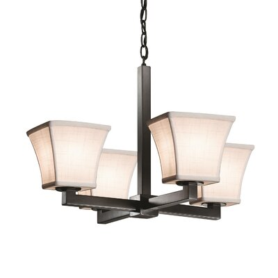 Textile Modular 4 Light Square Flared Mini Chandelier Finish: Dark Bronze, Shade Color: White
