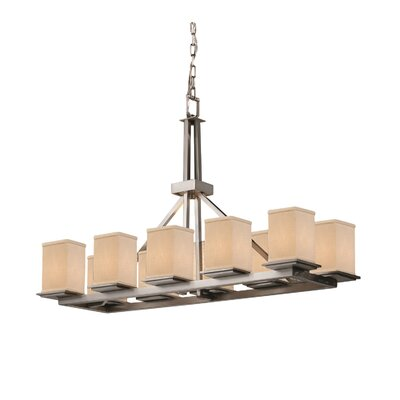 Textile Montana 10 Light Square w/ Flat Rim Drum Chandelier Finish: Dark Bronze, Shade Color: White