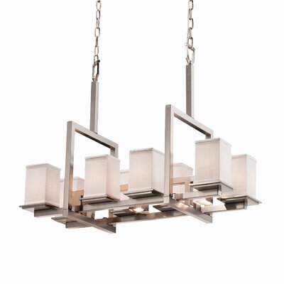 Red Hook 11 Light Square w/ Flat Rim Chandelier Finish: Matte Black, Shade Color: White