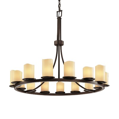 CandleAria Dakota 15 Light Chandelier Shade Option: Cylinder with Melted Rim, Shade Color: Amber, Metal Finish: Matte Black