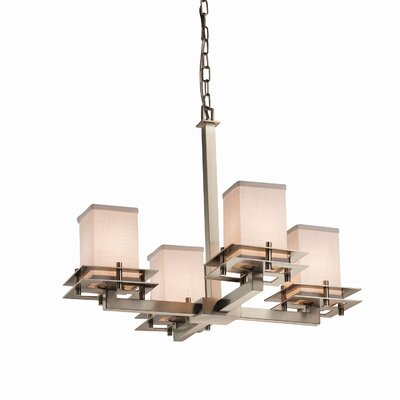 Textile Metropolis 4 Light Square w/ Flat Rim Mini Chandelier Shade Color: Cream, Finish: Dark Bronze