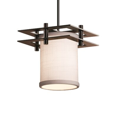 Textile Metropolis 1 Light Cylinder w/ Flat Rim Mini Pendant Shade Color: Cream, Finish: Brushed Nickel