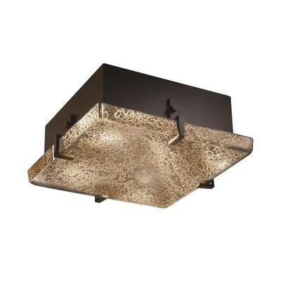 Luzerne 2-Light Square Flush Mount Finish: Dark Bronze, Shade Color: Weave