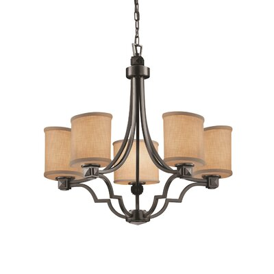 Textile 5 Light Oval Candle-Style Chandelier Finish: Dark Bronze, Shade Color: White
