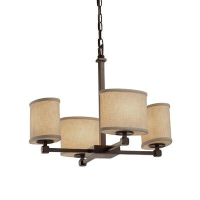 Textile 4 Light Oval Mini Chandelier Finish: Matte Black, Shade Color: White