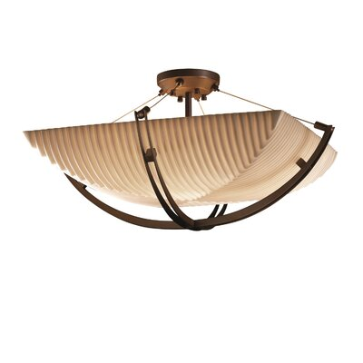 Salaam 6-Light Semi Flush Mount Impression: Pleats, Finish: Dark Bronze