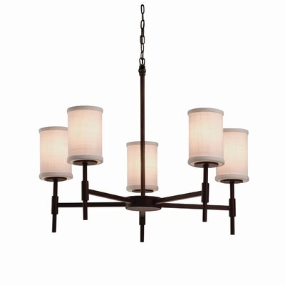Textile Union 5 Light Cylinder w/ Flat Rim Chandelier Finish: Matte Black, Shade Color: White