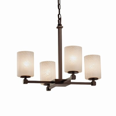 Luzerne 4-Light Shaded Chandelier Finish: Brushed Nickel, Shade Color: Weave