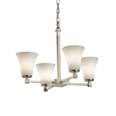 Luzerne 4-Light Shaded Chandelier Finish: Polished Chrome, Shade Color: Caramel