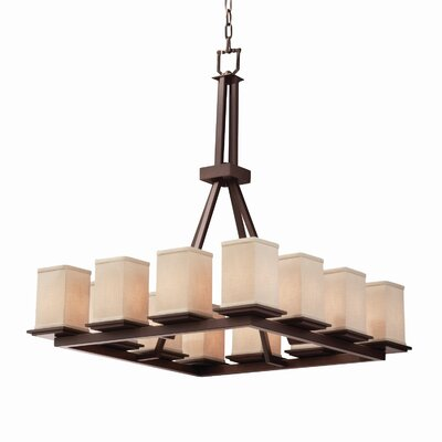 Textile Montana 12 Light Square w/ Flat Rim Chandelier Shade Color: Cream, Finish: Brushed Nickel