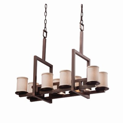 Textile 11 Light Cylinder w/ Flat Rim Chandelier Finish: Dark Bronze, Shade Color: Cream