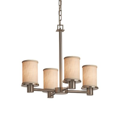 Textile Rondo 4 Light Cylinder w/ Flat Rim Mini Chandelier Finish: Brushed Nickel, Shade Color: Cream