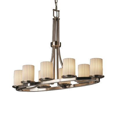 Leland 8-Light Kitchen Island Pendant Metal Finish: Matte Black, Impressions: Banana Leaf
