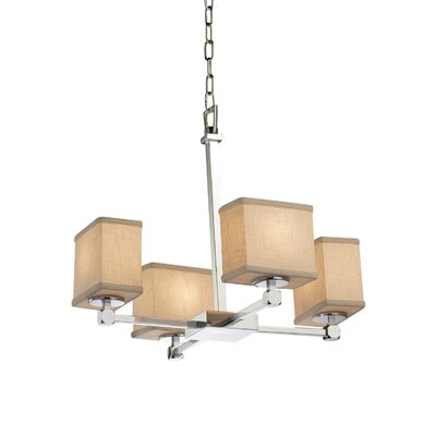 Textile Tetra 4 Light Rectangle Mini Chandelier Finish: Matte Black, Shade Color: White