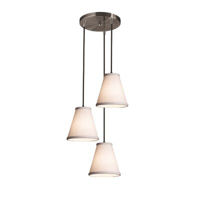Textile 3-Light Cascade Pendant Finish: Polished Chrome, Shade Color: Cream