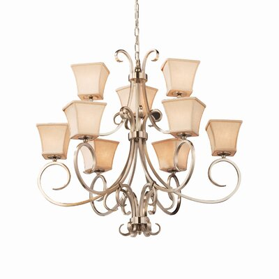 Textile 9 Light Square Flared Candle Chandelier Finish: Matte Black, Shade Color: Cream
