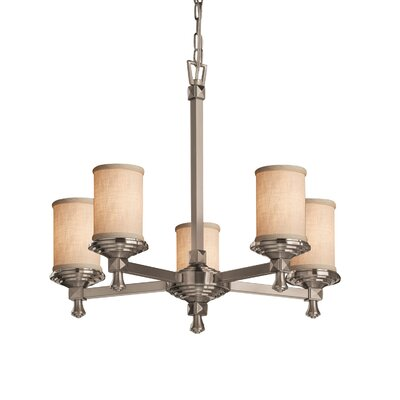 Textile 5-Light Shaded Chandelier Finish: Polished Chrome, Shade Color: Cream