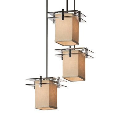 Textile Metropolis 3 Light Square w/ Flat Rim Cascade Pendant Shade Color: Cream, Finish: Dark Bronze