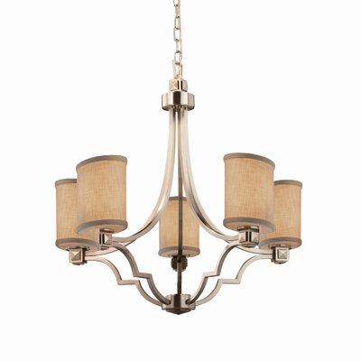 Sav 5 Light Oval Candle-Style Chandelier Finish: Matte Black, Shade Color: Cream