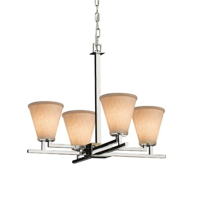 Textile Aero 4 Light Cylinder w/ Flat Rim Chandelier Shade Color: Cream, Finish: Brushed Nickel