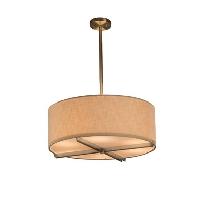 Red Hook 6 Light Drum Pendant Finish: Brushed Nickel, Shade Color: Cream