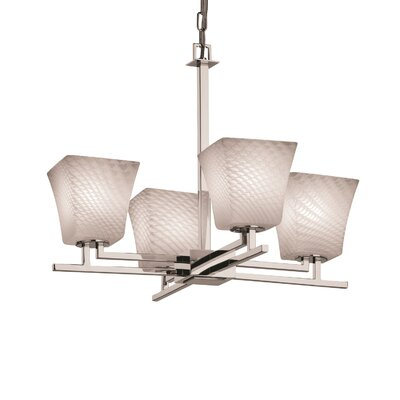 Bissett 4-Light Squared Flare Shaded Chandelier Shade Color: Weave, Metal Finish: Nickel