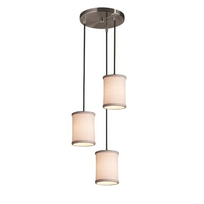 Textile 3 Light Cylinder w/ Flat Rim Cascade Pendant Shade Color: White, Finish: Matte Black