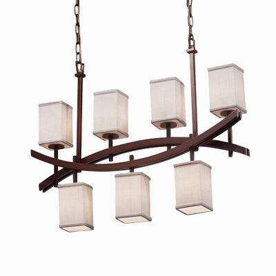Textile Archway 7 Light Square w/ Flat Rim Chandelier Shade Color: Cream, Finish: Dark Bronze