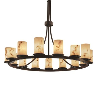 Keyon 15-Light Shaded Chandelier Shade Option: Cylinder with Broken Rim, Metal Finish: Dark Bronze