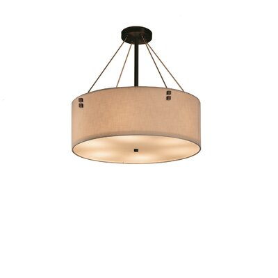 Textile 3 Light Drum Pendant + Pair of Square Finials