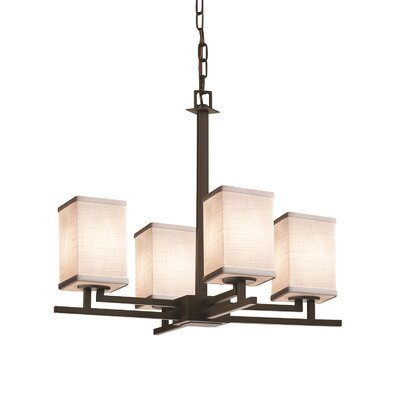 Textile Aero 4 Light Square w/ Flat Rim Chandelier Shade Color: Cream, Finish: Dark Bronze