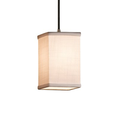 Textile 1 Light Square w/ Flat Rim Mini Pendant Shade Color: Cream, Finish: Dark Bronze